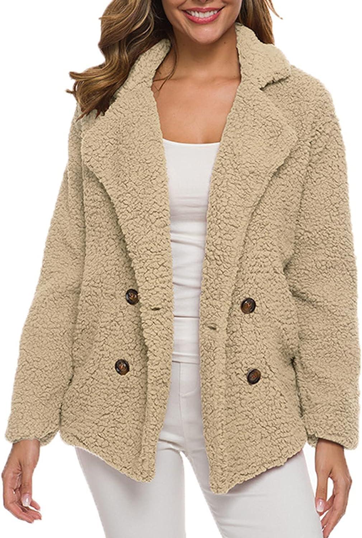 Womens Winter Fleece Open Front Sherpa Coat Outerwear Fuzzy Fleece Lapel Cardigan Faux Fur Warm Jackets with Pockets