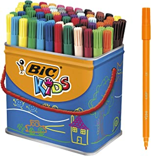 BIC Kids Visa Feutres de Coloriage à Pointe Fine - Couleurs Assorties, Pot de 84