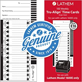 Lathem Weekly Tru-Align Time Cards, Single Sided, For Use with Lathem 1600E Time Clock, 100 Pack (E16-100)