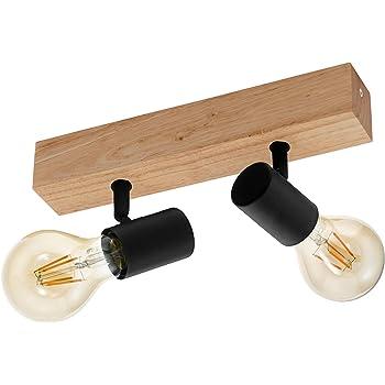 EGLO Deckenlampe Townshend 3, 2 flammiger Vintage Deckenspot im Industrial Design, Retro Lampe aus Stahl und Holz, Farbe: Schwarz, braun, Fassung: E27