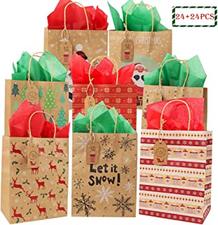 24pcs Christmas Medium Gift Bags and 24pcs Paper Tissue, 6 Different Pattern Goodie Bags Party Favor for Wrapping Holiday Gifts by Haojiake