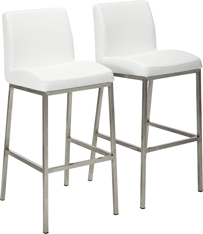 Long-awaited Christopher Knight Home Vasos Leather Barstools Fees free 2-Pcs Whit Set