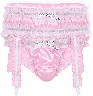 Yeahdor Men's Frilly Satin Sissy Pouch Panties Bikini Briefs Crossdress Underwear with Garters
