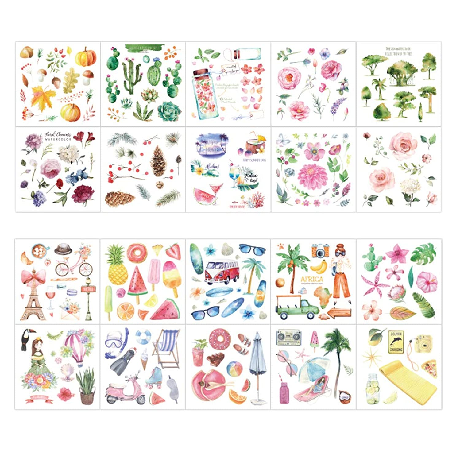 Cute Washi Paper Stationery Sticker Set Pumpkin Pine Nuts Branch Succulent Plants Cactus Bicycle Tower Fruit Popsicle Coconut Tree Glasses Swimming Equipment Vacation Stickers Scrapbooking Label(B)