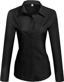 Womens Cotton Basic Button Down Shirt Slim Fit Dress Shirts
