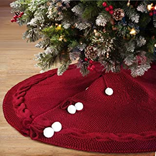 LASPERAL Christmas Tree Skirt 48 Inches Tree Skirt Red Knitted Tree Skirt Mat for Christmas Decorations Yarn Thick Rustic Xmas Tree Skirt for Home Party Holiday Ornaments