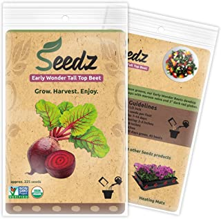 Organic Beet Seeds, APPR. 225, Early Wonder Tall Top Beet, Heirloom Vegetable Seeds, Certified Organic, Non GMO, Non Hybri...