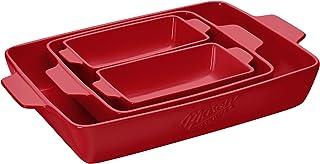 Mason Craft & More Ceramic Bakeware Collection- Rectangular, Square, Casserole, Lasagna, Baking, Roasting- 4 Piece Red Cer...