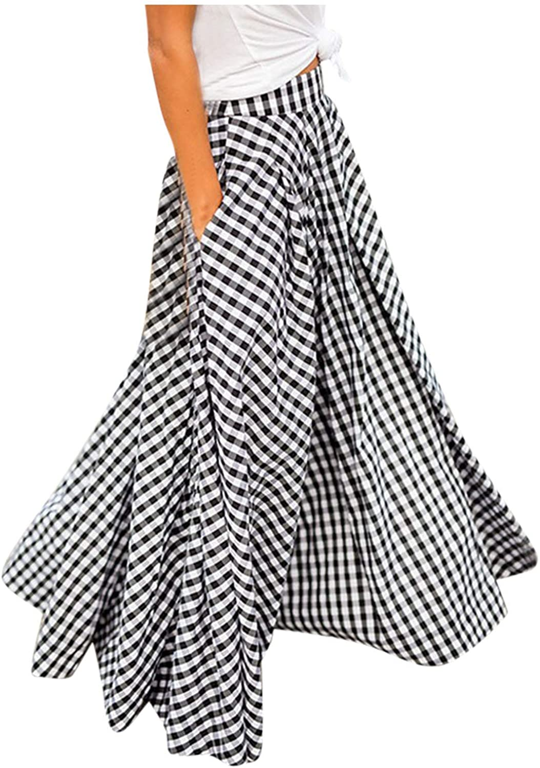 XCeihe Women's Summer New A-line High Waist Swing Maxi Plaid Skirt Casual Loose Fit Large Hem Skirts with Pocket
