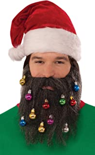 Forum Men's Brown Santa Beard with Christmas Ornaments