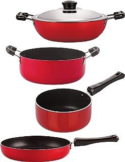 Nirlon Non Stick cookware Set of 4 Pieces Combo for Wedding Gift (FP10_DKD(J)_SP(M)_CS24)