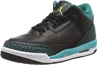 Jordan Nike Kids Air 3 Retro Gg Black Leather Basketball Shoes 7