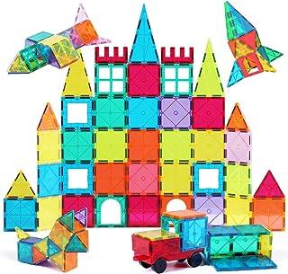 Jasonwell 65 PCS Magnetic Tiles Building Blocks Set for Boys Girls Preschool Educational Construction Kit Magnet Stacking ...