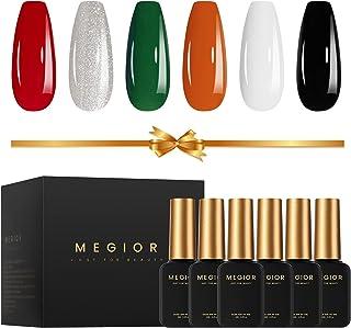 MEGIOR Gel Nail Polish Set, Classic Black White Glitter Series Gel Nail Polish Kit with 6 Colors