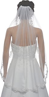 1T 1 Tier Flower Scallop Embroided Lace Pearl Veil Fingertip Length 36