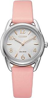 Citizen Women's Drive Stainless Steel Quartz Leather Calfskin Strap, Pink, 14 Casual Watch (Model: FE1210-07A)