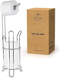 Zulay トイレットペーパーホルダースタンド バスルーム用 - トイレットペーパースタンド&ストレージ 3つのロールを収納 - ポータブル自立式トイレットペーパーホルダー&ディスペンサースタンド トイレ用