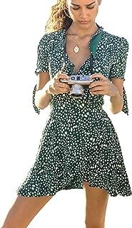 Women's Dresses Summer Wrap V Neck Bohemian Floral Print Ruffle Swing A Line Beach Mini Dress