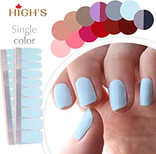 HIGH'S Single Color Series Classic Collection Manicure Nail Polish Strips Nail Wraps, Light Cyan