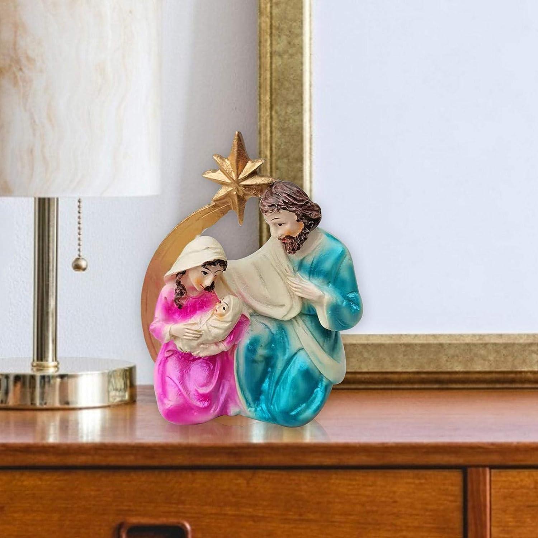 Scene Della Nativit/à Da Tavolo Decorazioni Natalizie Ornamento Tradizionale Del Presepe Artigianato In Resina Deliziose Decorazioni Per Presepe Di Natale Presepe Di Natale Set Di Figure Di Scena