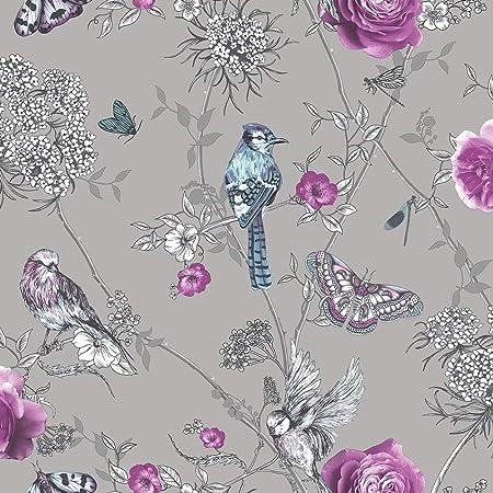 Arthouse 692403 Paradise Garden Wallpaper, Silver, One Size