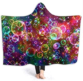 Colorful Sparkle Bubbles Flannel Fleece Hoodie Blanket Throw Wearable Cuddle Super Soft Warm Cozy for Fall Winter-All Season for Living Room Bedroom Gifts Size 50x40 in, 60x50 in, 80x60 in