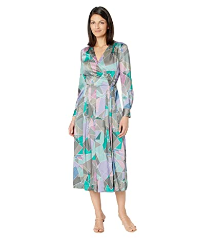 Tahari by ASL Long Sleeve Geo Print Midi Dress with Surplus Neckline and D-Ring Side Tie (Sage Orchid Geo) Women