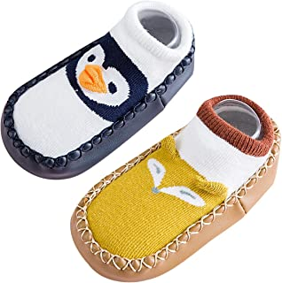 2 Par Calcetines Bebés Niñas Antideslizante de Algodón para Primeros Pasos Medias Antideslizante Niños Bebés Zapatos de Casa Infantil