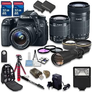 Canon EOS 70D DSLR Camera Bundle with Canon EF-S 18-55mm f/3.5-5.6 IS STM Lens + Canon EF-S 55-250mm f/4-5.6 IS STM Lens + 500mm f/8 Preset Lens - International Model