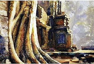 Watercolor painting of Khmer ruins at Angkor Wat- Cambodia (print).
