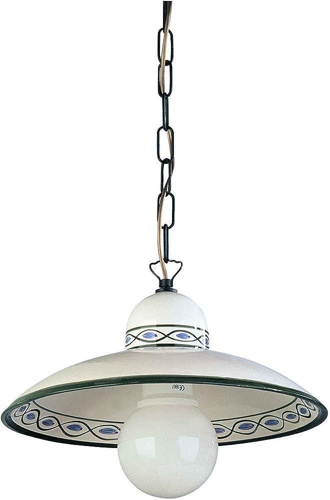 Luce del futuro,lampadario ceramica decorata a mano 92/S40.OC.VE