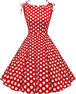 MuaDress 1958 Vestiti retrò Rockabilly Polka Abito da Cocktail Vestito Casual da Audrey Swing Senza Maniche