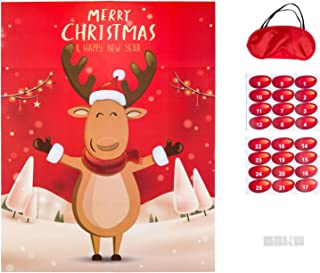 MISS FANTASY Christmas Party Games Xmas Activities Pin The Nose on The Reindeer Xmas Gifts for Kids New Year Party Favor Supplies (Reindeer)