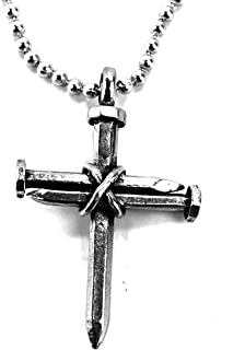FORGIVEN JEWELRY 3 Nails Wire Wrapped Cross on Ball Chain