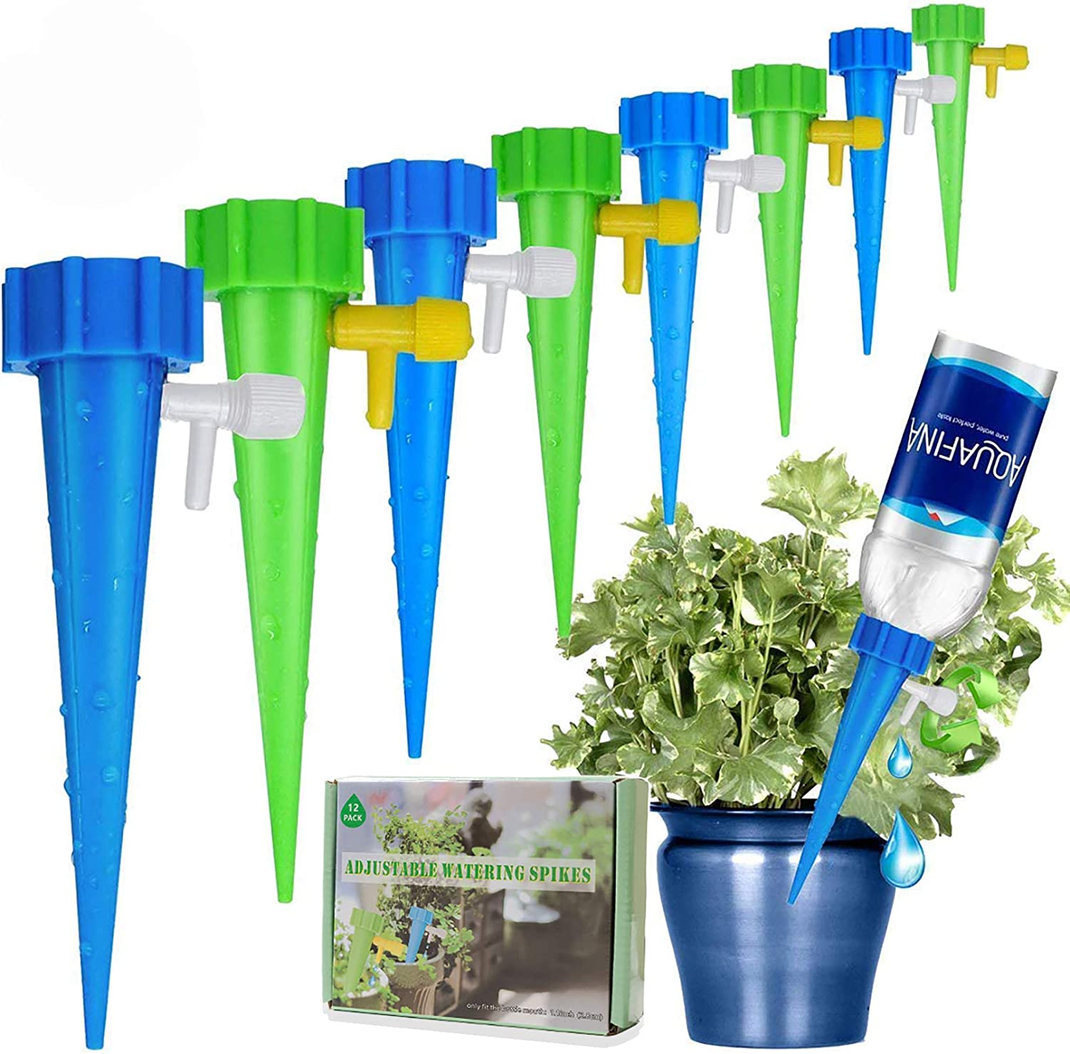 [New Upgrade] Self Watering Spike Slow Release Vacation Plants Watering  System Automatic Watering Devices for Wine Bottle Small Plastic Water  Bottle ...