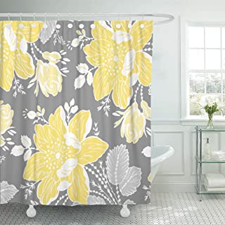 Accrocn Waterproof Shower Curtain Curtains Fabric Yellow Gray White Floral Extra Long 72x78 Inches Decorative Bathroom Odorless Eco Friendly