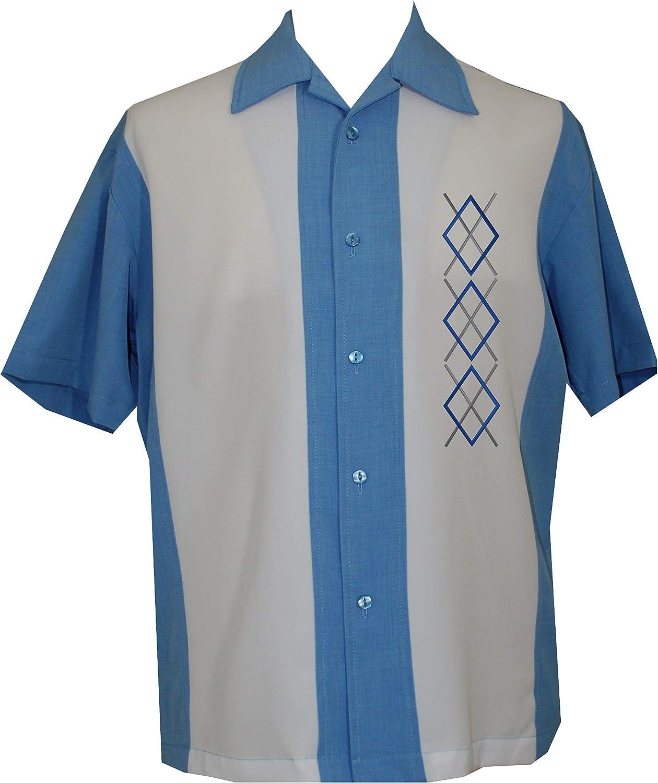 Lucky ParadiseMens Camp Shirt, Vintage Cuban Style Bowling Shirt Curacao ~ Guayabera Dress Shirt Style