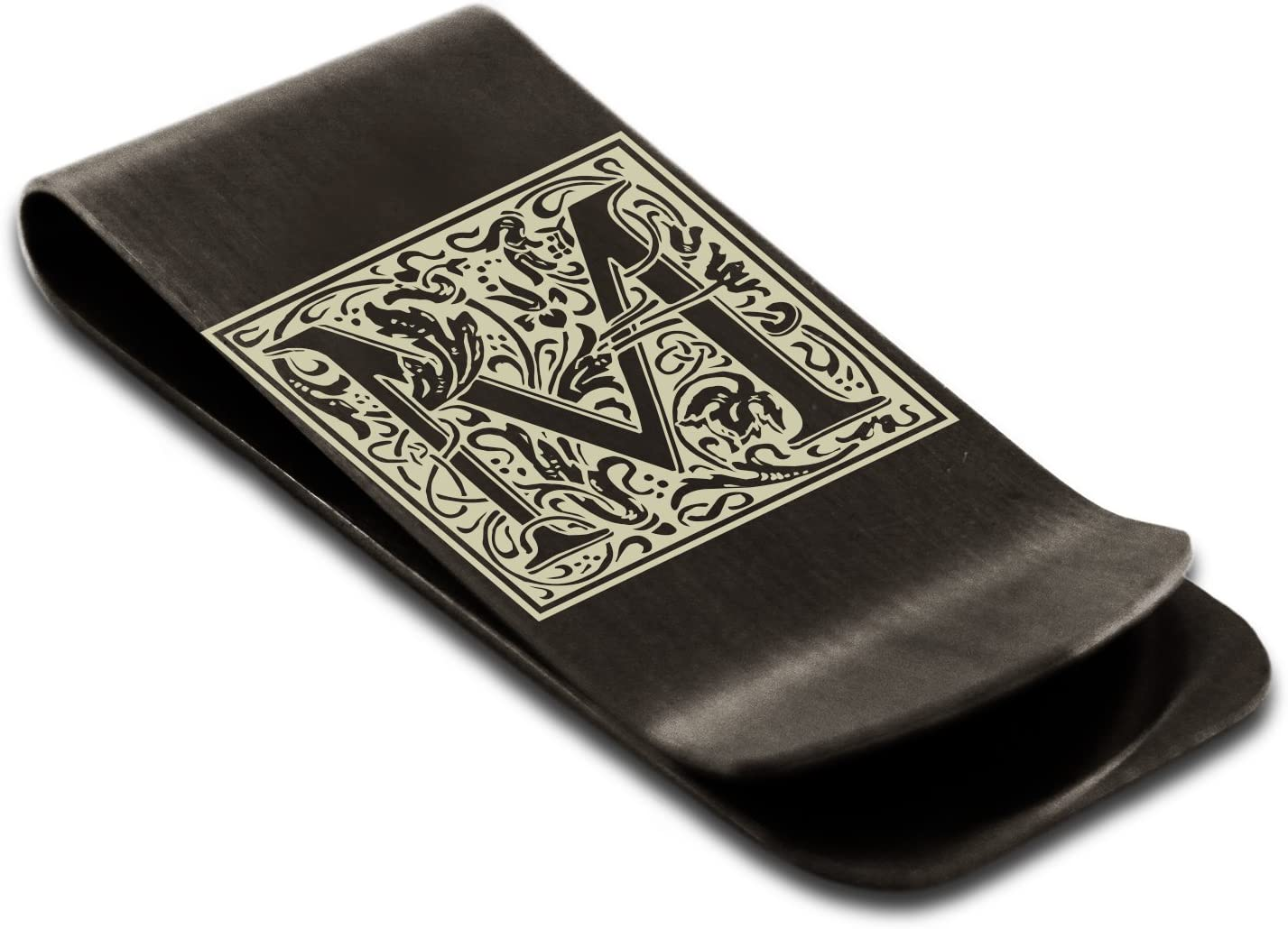 Tioneer Stainless Steel Money Clip Credit Card Holder | Initial Floral Box Monogram | Personalize with Free Engraving (Black, M)