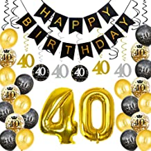 HankRobot 40th Birthday Decorations Party Supplies(40pack) Gold Number Balloon 40 Happy Birthday Banner Latex Balloons(Black, Golden) Confetti Balloons -Great for 40 Forty Years Old Birthday Party