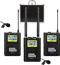 پیکسل 100 کاناله میکروفون Lavalier بی سیم فلزی Lavalier Lapel Mics با گیرنده گیرنده Beltpack / گیرنده برای دوربین های DSLR ، iPhone / iPad / Smartphone و دوربین فیلمبرداری آندروید (WM10)