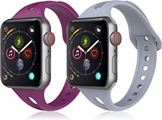 ProCase Sport Band for Apple Watch 38mm 40mm, 2 Pack Soft Silicone Slim Strap Narrow Thin Small Replacement Wristband with Breathable Hole for iWatch Series 5 4 3 2 1, Sports & Edition -Grey/Purple