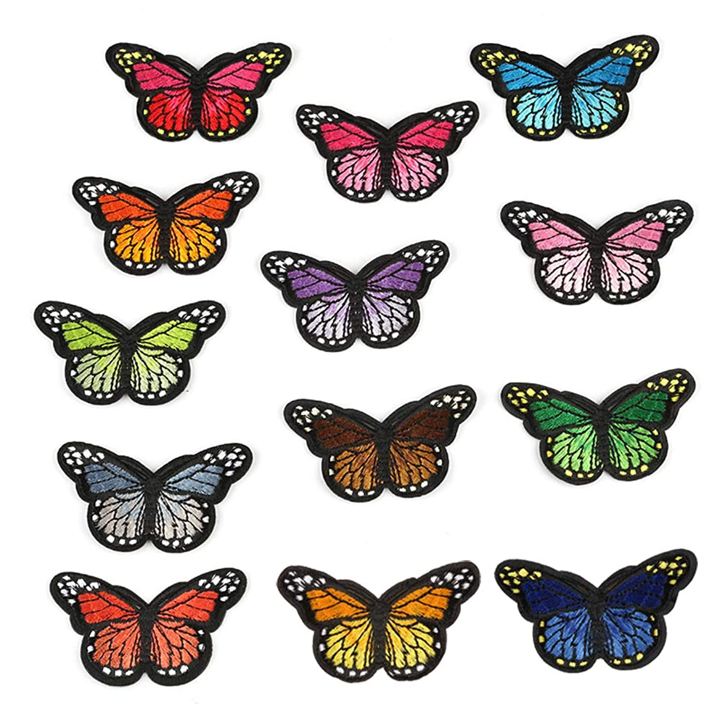 Iron on Patch Glitter Sequin Patches, 13 Pieces DIY Butterfly Patterns Sew On Patches Applique for Clothes Jackets T-Shirt Jeans Skirt Vests Scarf Hat Bag