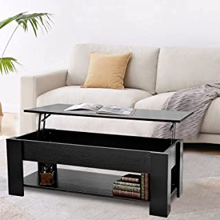 Lift Top Coffee Table with Hidden Storage Wooden Side Tables Black