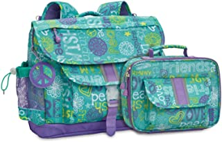 Bixbee Kids Backpack and Lunch Bag, Medium and Large, Teal Green Hope Peace Love