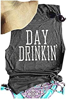Day Drinkin' Casual Tank Tops Funny Letters Print Vest T-Shirt, Cute Drinking Shirt Tank for Women