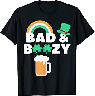 St Patricks Day Bad and Boozy Shirt Clover Saint Paddys Beer T-Shirt