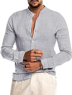 AUDATE Mens Cotton Linen Button Down Shirts Casual Long Sleeve Henley Shirt Grandad Shirt