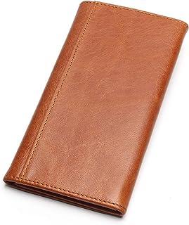 portafolios larga de piel para hombre, estilo clásico, con clip para dinero, portafolios de alta capacidad