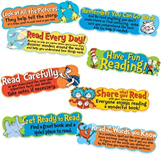Eureka Back to School Dr Seuss Motivational Reading Bulletin Board and Classroom Decorations, 6.5'' x 0.1''x 26'', 8 pc