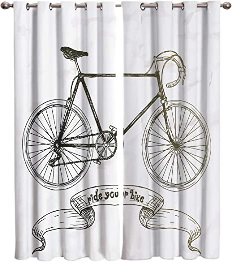 Edwiinsa Bicycle Kitchen Curtains Window Drapes Treatment 2 Panels Set For Kitchen Cafe Office Ride Your Bike Lettering With Nostalgic Mountain Bike Hand Drawn 104w X 96l Inch Home Kitchen